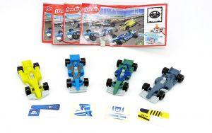 Formel 1 Rennwagen Satz mit Zettel und Aufklebern auf Folie (Ü-Ei 2012 Sprinty)