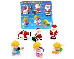 Fröhliche Weihnachten. 3 Engel und 3 Weihnachtsmänner mit Serienzettel von Firma Onken