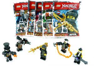LEGO Ninjago 5er Set mit Schurken Figuren Nya, Sawyer, Talon, Jet Jack und Böser Eisen Baron mit Waffen …