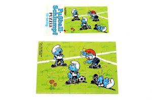 Puzzleecke unten rechts von den Fußballschlümpfen mit Beipackzettel
