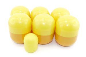 6 leere Mini Maxi Ei Kapseln in gelb-orange