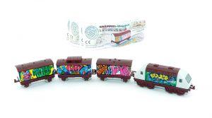 Satz Graffiti Züge mit Beipackzettel. Lok in weiß (Locks und Züge)