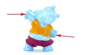 Expandergriffe nicht weiß bemalt von Pudding Paul mit der Kennung von 1990 (Happy Hippo im Fitness Fieber)
