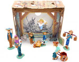 Presepe Weihnachtskrippe aus Italien von 1999. 10 schöne Figuren mit Stall aus Pappe als Hintergrund