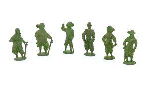 6er Satz Metallfiguren - Die Musketiere in grün meliert