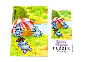 Puzzlecke oben links von den Happy Hippos 1988 mit Beipackzettel