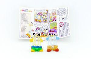 Hopclip und Hipclip mit lila Mütze mit Beipackzettel (Die Schreibtischbande)