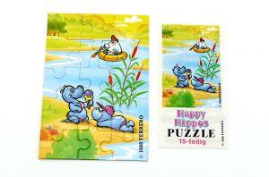 Puzzleecke von den ersten Happy Hippos von 1988. Ecke unten rechts mit Beipackzettel