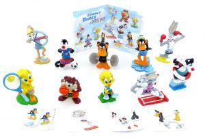 Figurensatz mit Beipackzettel der Looney Tunes Olympia Griechenland aus dem Kinder Joy Ei (selten)