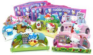 Komplettsatz mit 8 Hello Kitty Figuren mit  Zubehör