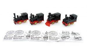 4er Satz Im Eisenbahnmuseum Loks - Zugmaschinen in schwarz mit Beipackzettel (Züge - Loks)