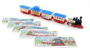 Satz Eisenbahn des Zirkus Rivetti mit blauem Dach und Beipackzetteln