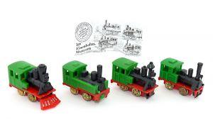 4er Satz Im Eisenbahnmuseum Loks - Zugmaschinen in grün mit Beipackzettel (Züge - Loks)