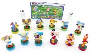 Alle 15 Magic Sport Figuren mit Bällen und 1 deutscher Beipackzettel
