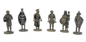 Satz Römer aus Messing. Größe 35mm. Alle 6 Figuren der Serie