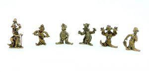"""Metallfigurensatz  """"Clown Miniaturen"""". Alle 6 Figuren der Serie"""