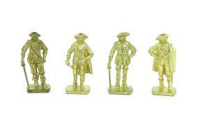 """Metallfigurensatz  """"Französiche Musketiere"""". Alle 4 Figuren der Serie in Gold [Kennung Scame]"""