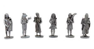 Figurensatz Pharaonen aus Metall. Satz besteht aus 6 Pharaonen Figuren (Metallfiguren)
