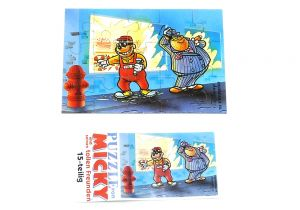 Puzzleecke von Micky Maus und seine Freunde mit Beipackzettel.  Puzzleecke oben rechts