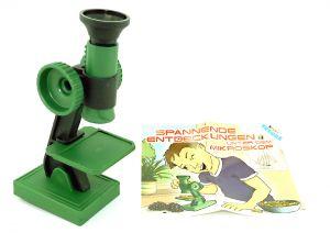 Mikroskop aus dem Maxi Ei von Ferrero mit Zettel.