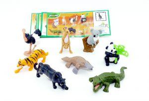 Satz Natoons Wildtiere mit allen Beipackzetteln, 8 Tierfiguren