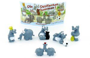 Ottifanten Figurensatz von Otto Waalkes mit Beipackzettel (6 Figuren der Serie - von Firma Brandt)