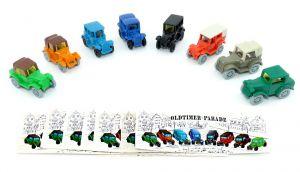 Oldtimer Parade. Alle 8 Wagen zur Serie mit allen Beipackzetteln
