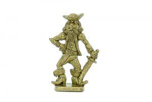 Pirat mit Säbel aus Messing (Metallfigur)