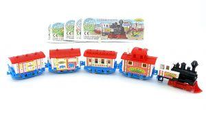 Satz Eisenbahn des Zirkus Rivetti mit roten Dach und Beipackzetteln