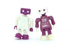 Alpha Weltraum Roboter von 1987. Beide Farbvarianten.