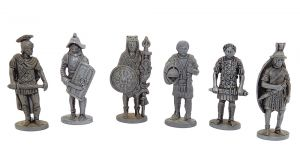 Satz Römer aus Eisen. Größe 40mm. Alle 6 Figuren der Serie von 1978 bis 86