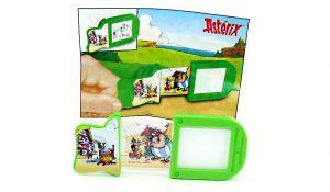 Schiebebild von Asterix und Obelix mit Beipackzettel
