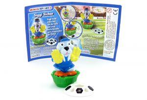 Siggi Sicher mit Ball und deutschen Beipackzettel (Magic Sport 2)