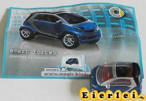 Smart in blau von 2008 mit Beipackzettel als Automodell Maßstab 1:87