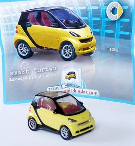 Smart Fortwo Coupe in gelb mit Beipackzettel