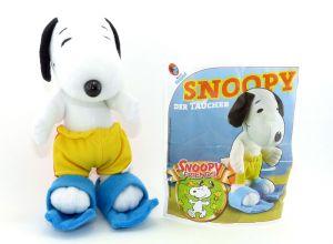 Peanuts Snoopy am Strand als Taucher mit Beipackzettel