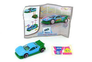 Sportwagen in blau grün mit Beipackzettel und Aufkleber auf Folie (Spielzeug 2008)