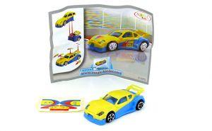 Sportwagen in gelb blau mit Beipackzettel und Aufkleber auf Folie (Spielzeug 2008)