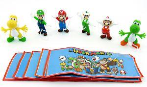 Super Mario Figuren. 6er Satz aus dem Kinder Joy Ei - Sommerei 2020 mit Zetteln