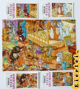 Komplettpuzzle der Aristocats mit 4 Beipackzettel, Top Zustand