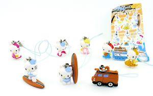 Hello Kitty SWEET SURFING danglers mit 8 Figuren und Zettel [Firma Tomy]