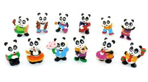 12 niedliche Figuren der Panda Party