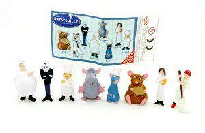 Figurensatz von Ratatouille plus Beipackzettel. Alle 8 Figuren der Serie