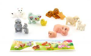 Tiere auf dem Bauernhof mit Jungen. 6 bzw. 12 Figuren mit einem Beipackzettel (Ü-Ei Figuren)