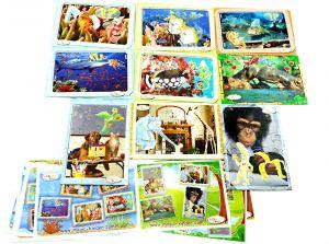 Tierkinderwelt und Unterwasserwelt 9 Puzzle komplett mit Anleitungen