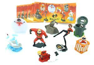 Figurensatz von den Incredibles 2. Alle 7 Figuren der Serie und deren Beipackzettel