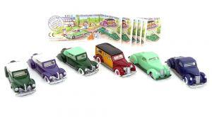 Amerikanische Limousinen der 30er Jahre. Satz mit Farbvarianten, also 6 Automodelle mit Zetteln