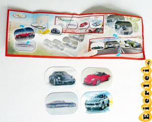 Porsche, vier Wackelbilder mit Beipackzettel