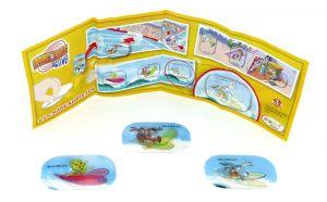 3 Wackelbilder der Looney Tunes beim Surfen mit Beipackzettel