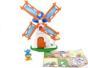 Windmühle mit Schlumpf mit Beipackzettel aus dem Maxi Ei von Ferrero